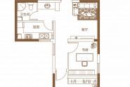 泉舜上城E户型两室一厅一卫约68.52㎡