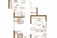 泉舜上城D户型两室两厅一卫约78.66㎡