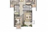 C2户型98平方米三室两厅一卫
